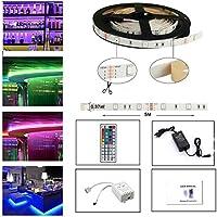 Tira LED De Luz RGB 5Metro 150 Leds 5050 SMD LED Strip Kit Completo Con Control Remoto De 44 Botones Y Fuente De Alimentación 12V 2A