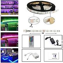 Tira LED De Luz RGB 5Metro 150 Leds 5050 SMD Tira LED Kit Completo Con Control Remoto De 44 Botones Y Fuente De Alimentación 12V 2A