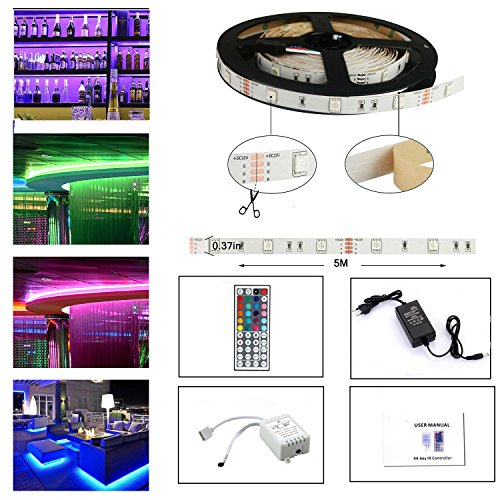 LEN Tira LED De Luz RGB 5Metro 150 Leds 5050 SMD LED Strip Kit Completo Con Control Remoto De 44 Botones Y Fuente De Alimentación 12V 2A