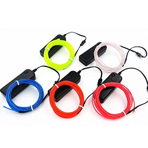 Kostüm Draht El Kit (5 Pack - Neon leuchtende Strobing Elektrolumineszenz-El-Draht (Blau, Grün, Rot, Gelb, Pink) mit 3 Modi)