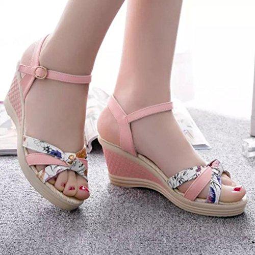 Koly_Sandali di estate delle donne dei cunei Infradito Ppen Toe High-tacco Scarpe Donna Rosa