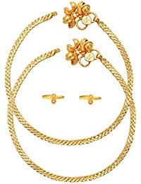 Dzinetrendz Micron Gold Plated Anklet With Matching Toering Combo Jewellery Festival Women