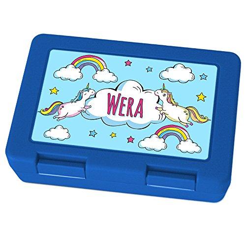 Preisvergleich Produktbild Brotdose mit Namen Wera - Motiv Einhorn, Lunchbox mit Namen, Brotdose Blau - Frühstücksdose Kunststoff lebensmittelecht