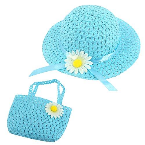 90S Baby Girl Children Kids Lovely Cap Sweet Flower Sun Beach Hat Straw Hat and Bag