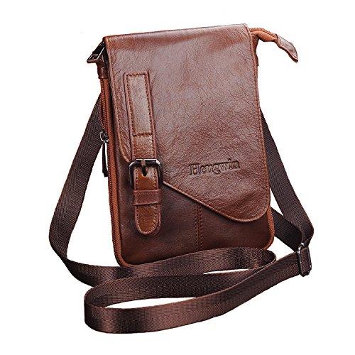 Hengying Leder Kleine Herrentasche Mini Messengertasche Mann Umhängetasche Messenger Bag Handy Gürteltasche mit Viele Reißverschluss Fächer/Clip, Braun Mini-tasche Für Männer