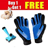 Poconic Pet Grooming Glove and Brush/Comb Combination, Perfect Deshedding Tools for Long, Short and Curly Haired Dogs, Cats, and Other Small Pets