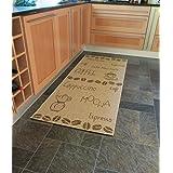 Aspecto 80 x 200 cm/polipropileno nostálgico de té y café al aire libre/de interior Tejido plano/cocina alfombra de corredor, marrón