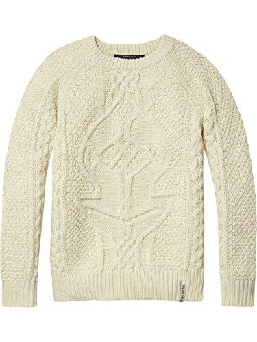 Scotch & Soda Shrunk Jungen Cable Knit Pullover, Beige (Ecru 003), 152 (Herstellergröße: 12) (Cable Knit Crew Pullover)