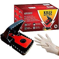GIVERNY Piège à Rat & Souris (boîte de 6) Puissant, Facile à Utiliser, Efficace, Tue Instantanément, Dératisation Rapide - Bonus 2 Gants en Latex pour Hygiene Optimale - Garantie