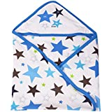 DOREME New Born Baby High Quality Extra Soft To Baby Delicate Skin Cartoon Print Hooded Housiry Chaddar Cum Odddna Wrapping/Wrapper Sheet Single Layer Baby Sleeping Bag Baby Cotton Sheet (Blue)