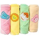 Kurtzy Baby Shower Bath Hooded Cotton Wrap Towels Blanket Bathrobe - Multi Colour (Pack Of 4)