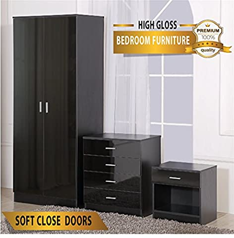 OSSOTTO HIGH GLOSS 3 Piece Bedroom Furniture Set - Includes Soft Close Wardrobe, 4 Drawer Chest & Bedside Cabinet (Black on