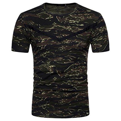 Preisvergleich Produktbild Herren Casual Camouflage Bluse , VENMO Drucken O Neck Pullover Kurzes T-Shirt Top Herren Sommer Hoodie Bluse Mode Kapuzen Herren Kurzarm Sports T-Shirt Slim Fit Hemd Oberteile Tank Tops (Army Gray,  2XL(Asian XXL=EU XL))