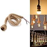 E27 lámpara colgante base y cable, Konesky Vintage cáñamo cuerda sola cabeza colgante colgante techo luz 3.3 ft/1M Loft industrial Retro estilo Country lámparas para casa literario bar decoración