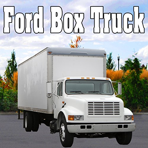 Ford Box Truck Reverses up at a Medium Speed from Right, Stops, Idles & Shuts Off