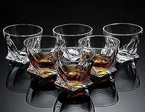 MALIK DIGITAL Whisky Glass (Clear, 300ml) - Set of 6 Pieces