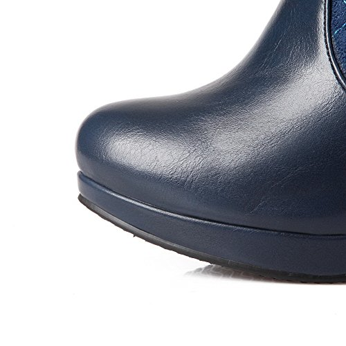 VogueZone009 Damen Blend-Materialien Rund Zehe Mitte-Spitze Hoher Absatz Stiefel Blau-Metallstück