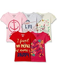 Cherokee Girls' Plain Regular Fit T-Shirt (Pack of 5)