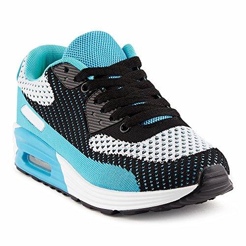Fusskleidung Herren Damen Sportschuhe Strick Sneaker Laufschuhe Schwarz/Grau/Blau-W EU 41