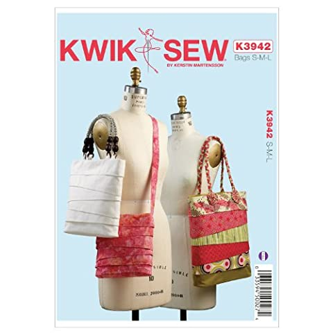 Kwik Sew Patterns K3942 Size Small/ Medium/ Large Bags, Pack of 1, White