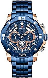Naviforce Men's Blue Dial Stainless Steel Analogue Classic Watch - NF9175-