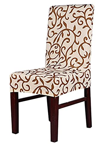 Tinksky 4pcs Chair Cover Removable Washable for Hotel Dining Room Ceremony Chair Slipcovers(Colorful) (Champagne &