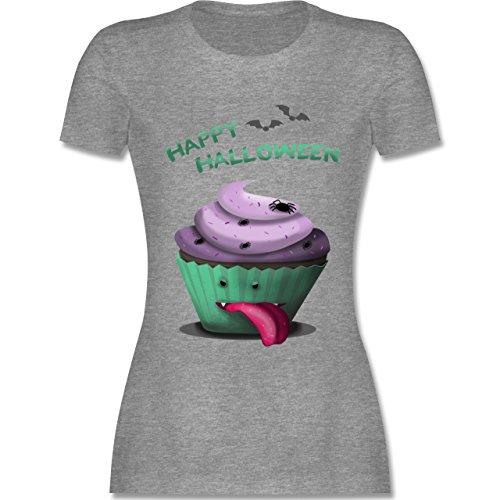 Halloween - Halloween Treats - L - Grau meliert - L191 - Damen T-Shirt Rundhals