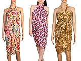 #4: INDIAN FASHION GURU Women's set of 3 beautiful beach wear sarong, pareo, wrap swimsuit cover up