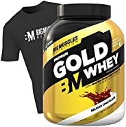 Bigmuscles Nutrition Premium Gold Whey 2kg [Belgian Chocolate] with Free T-Shirt|Whey Protein Isolate & Wh