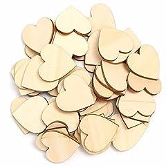 Idea Regalo - TRIXES 100 x Cuori in legno (5 cm) - Cuori in legno grezzo - per matrimoni, decorazioni o lavori artigianali