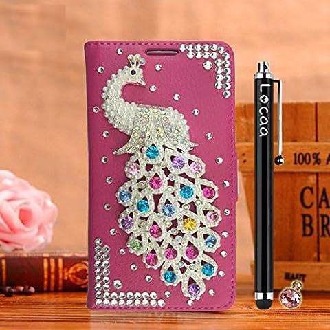 Locaa(TM) Pour Apple IPhone 7 Plus IPhone7+ (5.5 inch) 3D Bling Paon Case Coque Fait filles Cuir Qualité Housse Chocs Étui Couverture Protection Cover Shell Romantique [Paon 2] Rose - Paon Perle
