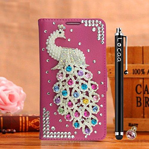 Locaa(TM) Pour Apple IPhone 7 Plus IPhone7+ (5.5 inch) 3D Bling Paon Case Coque Fait filles Cuir Qualité Housse Chocs Étui Couverture Protection Cover Shell Romantique [Paon 2] Rose - Paon Perle Rose - Paon Perle