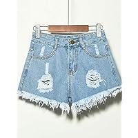 YFLTZ Pantalones Cortos de Lino de Las Mujeres - de Color sólido, Azul Claro, XXXXXL