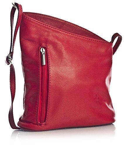 Big Handbag Shop kleine Damen Cross-Body-Umhängetasche aus echtem, weichem, italienischem Venenzi Leder (V114 Red)