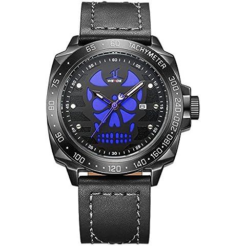 Alienwork Orologio quarzo XXL Oversized quarzo sport Cuoio blu nero OS.UV1510-B-4 - Pelle Tourbillon Cronografo