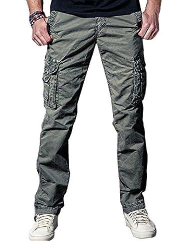 Men Work Combat Trousers Heavy Duty Cotton Twill Cargo Pants, Army Green 34