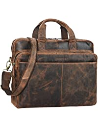 STILORD 'Verus' Vintage Ledertasche groß Aktentasche Laptoptasche Umhängetasche mit Reißverschluss und Abnehmbaren Schultergurt Lehrertasche Leder