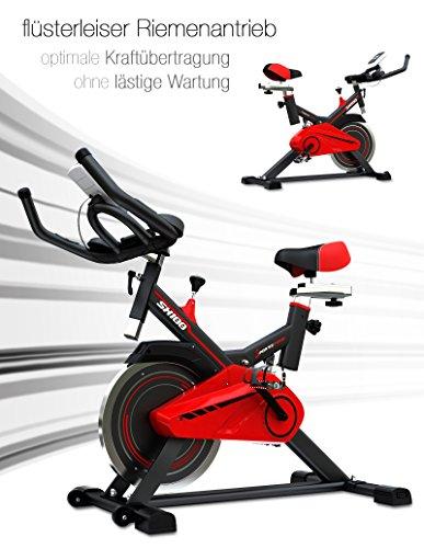 Sportstech Profi Indoor Cycle SX100 mit 13KG Schwungrad, gepolsterter Armauflage, Komfortsattel mit Sitzfederung, Pulsmessung – Speedbike mit flüsterleisem Riemenantrieb – Bodenschutzmatte gratis - 5