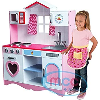 Large Girls Kids Pink Wooden Play Kitchen Children\'s Role Play ...