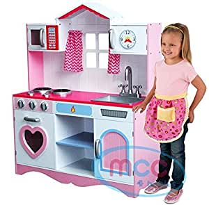 Large girls kids pink wooden play kitchen children 39 s role for Kitchen set in amazon