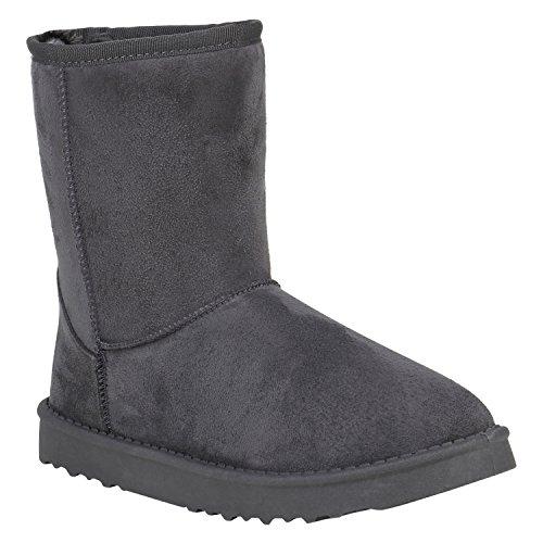Damen Stiefeletten Schlupfstiefel Warm Gefütterte Stiefel Schuhe 152342 Grau Brito 37 Flandell