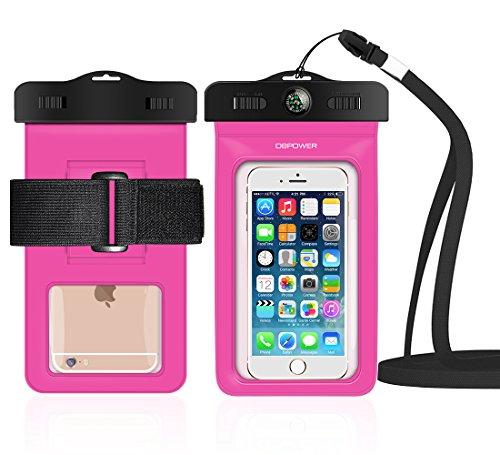 db DBPOWER Wasserdichte Hülle, Wasserfeste Handyhülle, Staubdichte und Stoßfeste Beutel Tasche mit Armband für iPhone 4/4s/5/5s/6/6s/6 plus/6s plus, Samsung Galaxy s3/s4/s5/s6, Note 4/3/2 und Andere Smartphones bis zum 6,0 Zoll (Magenta)