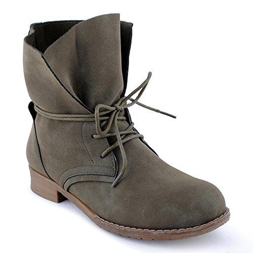 Damen Stiefeletten Stiefel Blockabsatz Schnür Biker Boots Freizeit Schuhe Grün-2/ungefüttert EU 37 (Hippie Schuhe)