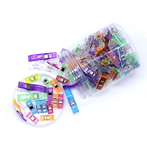 100Stück-Clips–Multicolor, Kunststoff-Clips, Papier-Clips, 75Blinder–Ideal zum Nähen, Handwerk, Crochet Strick -25groß + klein–dracarys