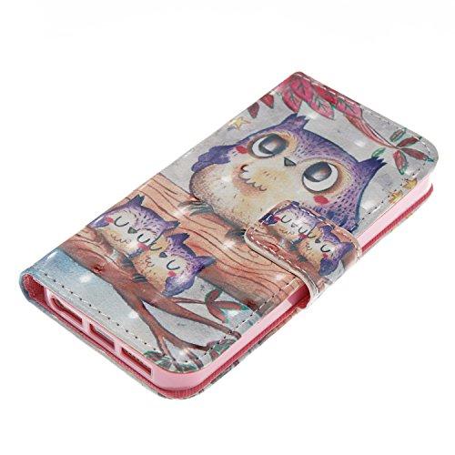 KANTAS PU Ledertasche für iPhone SE 5S 5 Brieftasche Flip Case 3D Design Pattern Case Lila Blume Muster Weiches Silikon Innere PU Leather Case für iPhone SE iPhone 5S Leder Flip Bookstyle Magnet Ultra Eule