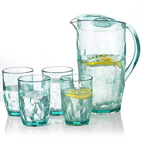 Elegear brocca acqua con 4 tazze 2,1 l brocca plastica ideale per succo di frutta, tè rosso e acqua calda fredda (verde)
