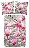 Good Morning! Magnoli bettwäsche mit Magnolia Blumen, 100% Baumwolle, Pink with Grey, 220x155x0,5 cm