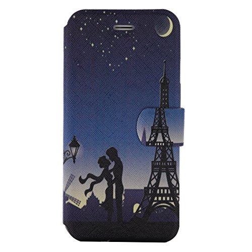 Price comparison product image For iPhone 7 Plus (5,5 zoll) Leather Flip Case Cover,Ecoway Colorful Painted PU Leather Stand Function Protective Cases Covers with Card Slot Holder Wallet Book Design,Soft TPU Silicone Inner Bumper Full Protection Cover for iPhone 7 Plus (5,5 zoll) - Paris Tower