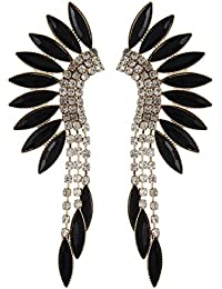 Fayon Funky Fashion Black Rhinestone Ear Cuff Earrings