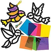 Baker Ross AW299 Kits de pájaros decorativos con efecto de cristal tintado (Paquete de 6) Manualidades de primavera para niños